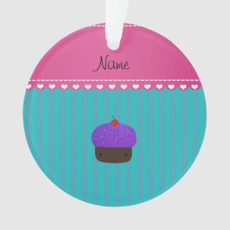 Personalized name purple cupcake turquoise stripes