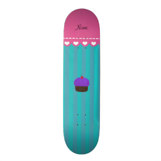 Personalized name purple cupcake turquoise stripes skate board