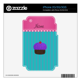 Personalized name purple cupcake turquoise stripes iPhone 3GS decals