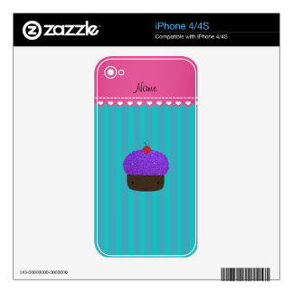 Personalized name purple cupcake turquoise stripes decal for the iPhone 4