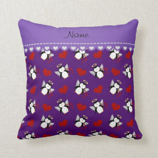 Personalized name purple cupid penguins red hearts throw pillow