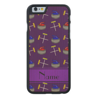 Personalized name purple curling pattern carved maple iPhone 6 case