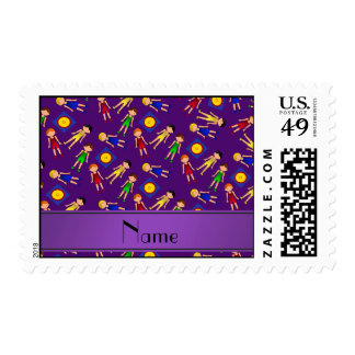 Personalized name purple cute boy wrestlers mat postage