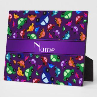 Personalized name purple cute car pattern plaque