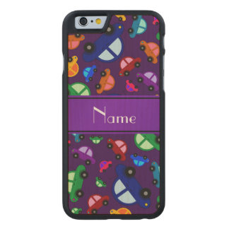 Personalized name purple cute car pattern carved® maple iPhone 6 case