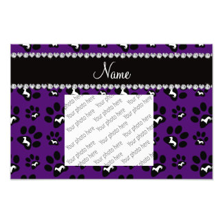 Personalized name purple dachshunds dog paws photo print