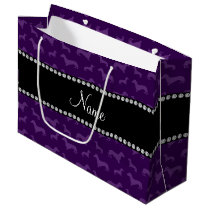 Personalized name purple dachshunds large gift bag