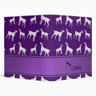 Personalized name purple dalmatian dogs vinyl binders