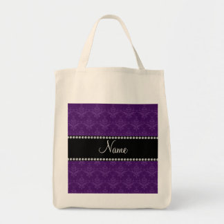 Personalized name Purple damask Canvas Bags