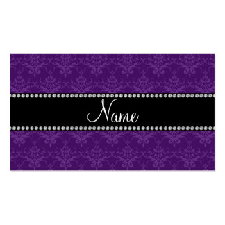 Personalized name Purple damask Business Card Templates