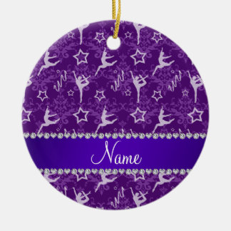 Personalized name purple damask gymnastics ceramic ornament