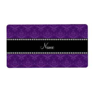 Personalized name Purple damask Shipping Labels