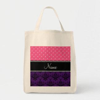 Personalized name purple damask pink diamonds tote bag