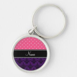 Personalized name purple damask pink diamonds keychains