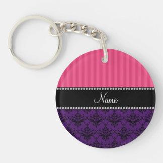 Personalized name purple damask pink stripes keychain