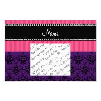 Personalized name purple damask pink stripes art photo
