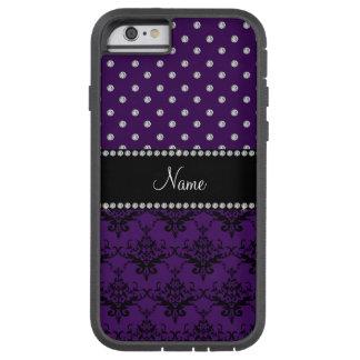 Personalized name purple damask purple diamonds tough xtreme iPhone 6 case