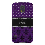 Personalized name purple damask purple diamonds galaxy s5 cover