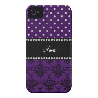 Personalized name purple damask purple diamonds iPhone 4 Case-Mate cases