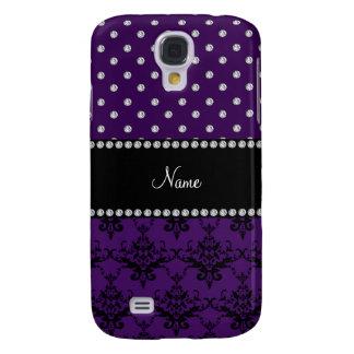 Personalized name purple damask purple diamonds samsung s4 case