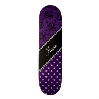 Personalized name purple damask purple diamonds skateboards