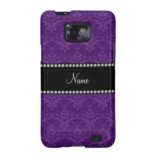 Personalized name Purple damask Samsung Galaxy S2 Cover