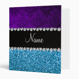 Personalized name purple damask sky blue glitter 3 ring binders