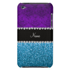 Personalized name purple damask sky blue glitter iPod touch case at Zazzle