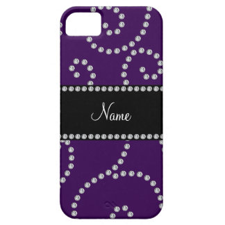 Personalized name purple diamond swirls iPhone 5 cases