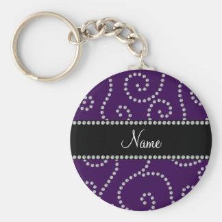 Personalized name purple diamond swirls key chain