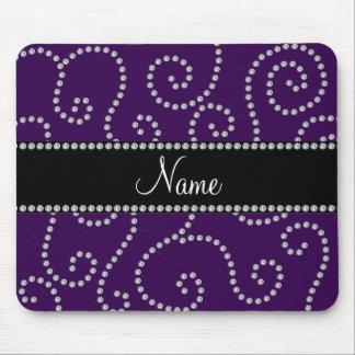 Personalized name purple diamond swirls mouse pad