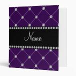 Personalized name Purple diamonds 3 Ring Binders
