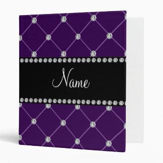 Personalized name Purple diamonds Binders