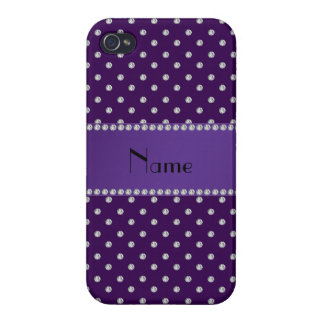 Personalized name purple diamonds iPhone 4/4S cases