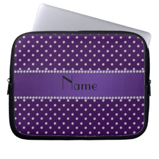 Personalized name purple diamonds laptop computer sleeves