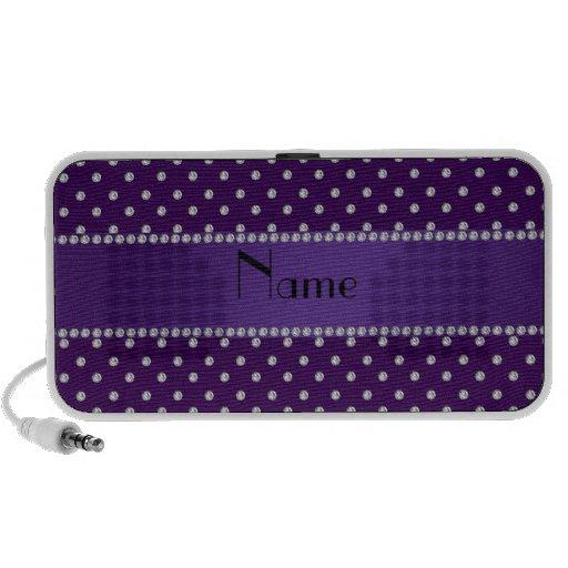 Personalized name purple diamonds laptop speaker