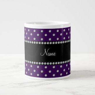 Personalized name purple diamonds large coffee mug