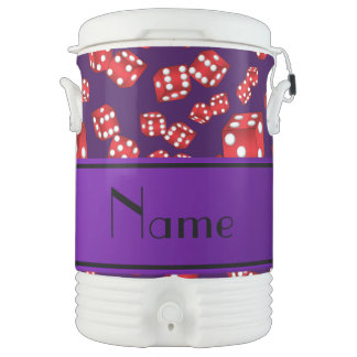 Personalized name purple dice pattern igloo beverage cooler