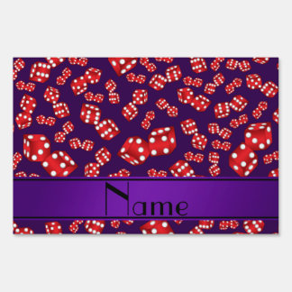 Personalized name purple dice pattern lawn sign