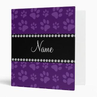 Personalized name purple dog paw prints binder