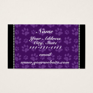 Personalized name purple dog paw prints business card