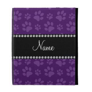 Personalized name purple dog paw prints iPad folio covers