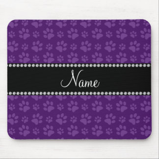 Personalized name purple dog paw prints mousepads