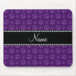 Personalized name purple dog paw prints mousepads