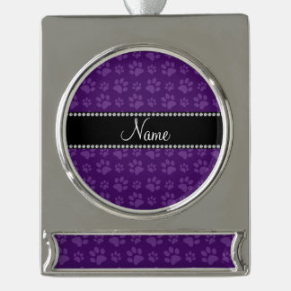 Personalized name purple dog paw prints silver plated banner ornament