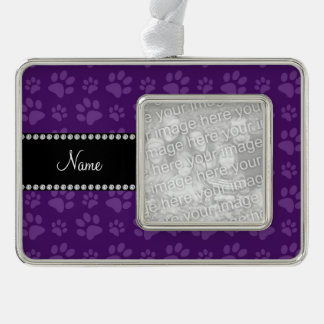 Personalized name purple dog paw prints silver plated framed ornament