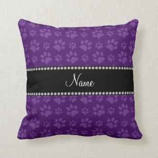 Personalized name purple dog paw prints throw pillow