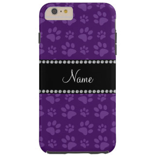 Personalized name purple dog paw prints tough iPhone 6 plus case