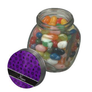 Personalized name purple dreamcatchers glass candy jar