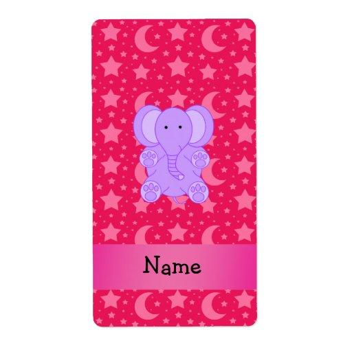 Personalized name purple elephant shipping label